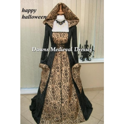 Medieval Renaissance Gothic Hooded  Dress Black & Gold